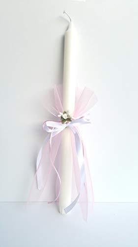 Candela rosa del battesimo per la cerimonia bianca, il battesimo, il giorno della benedizione, la cerimonia della candela, la misura della candela 25 cm.