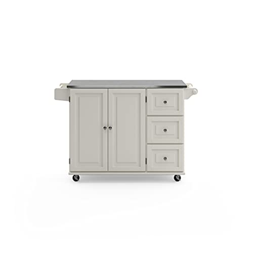 Liberty Off-White Kitchen Cart with Stainless Steel Top by Home Styles