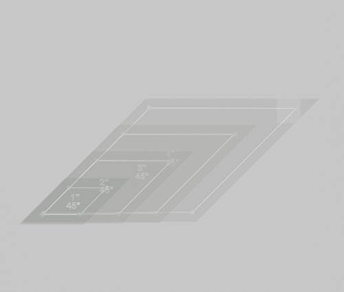 Diamond Quilting Acrylic Templates 4', 3', 2', 1' 45 Degree 1/4' Seam Allowance, 1/8' Acrylic