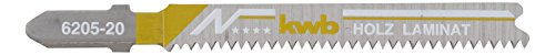 kwb 2 x Stichsägeblätter für Laminat 620520 (fein, Bi-Metall, Einnockenschaft, T101BIF) u. a. für Einhell RT-JS 85