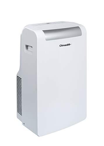 CLIMADIFF - Climatiseur Mobile CLIMA10K1-3 en 1 Climatiseur Déshumidificateur et Ventilateur - Programmable 24h - 3 Vitesses - Classe Énergétique A+ - 10 000 BTU - Couvre Entre 20m² et 29m²