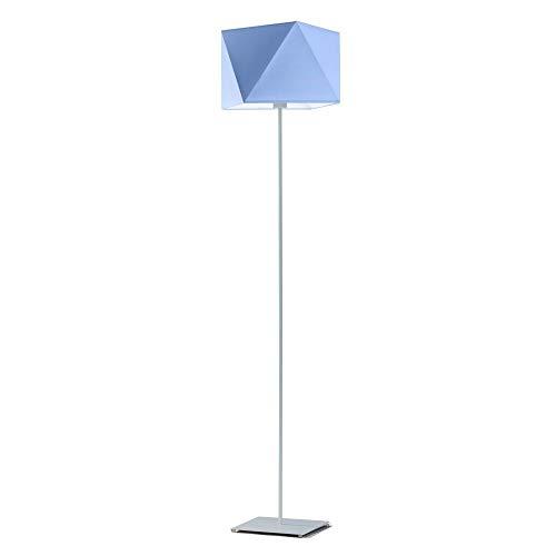 Moderna lámpara de pie Ankara pantalla azul marco de acero cepillado