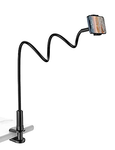 Gooseneck Phone Holder Stand for Bed: Tryone Flexible Long 35-inch Arm Adjustable Cell Phones Mount Clamp on Desk Compatible with iPhone 12 Pro 12 11 Pro Xs 8 7 6   Samsung S21 or Other 4'-7' Devices