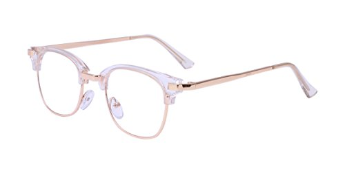 ALWAYSUV Retro Klare PC Linse Metall Bügel Halb Rahmen Unisex Streberbrille Brillenfassung