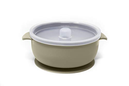 The Dearest Grey, Toddler Silicone Baby Bowl, Best Stay Put Suction Bowl,for Babies Kids & Toddlers,Comes with 100% Leak Proof lid, Dishwasher & Microwave Safe (Meadow)