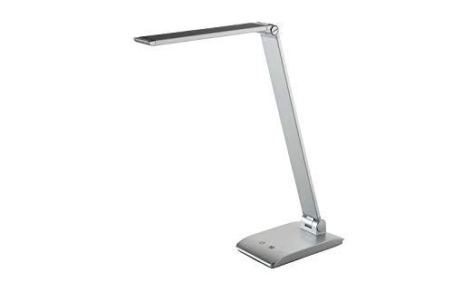 Alco Lámpara Escritorio con Soporte, Plateado, Regulable en 3 Niveles, Color de luz cambiable, máx. 48 ledes, plástico/Aluminio, 7 W, Aprox. 17,5 x 10,3 x 39 cm, plata
