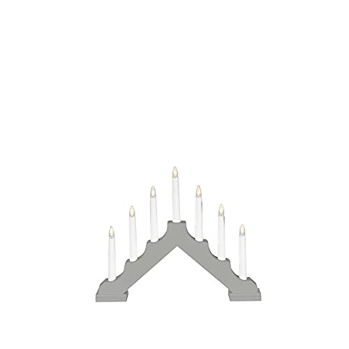 Konstsmide Christmas Traditional Style Welcome Light/Grey Wood/Battery Operated 6xAA (Excl.) Indoor Use (IP20)/6 Hour Timer/7 Candles with Clear LED Bulbs/On Off Switch