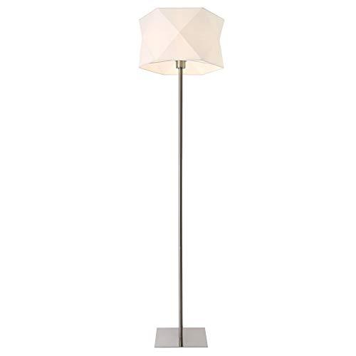 lux.pro Stehleuchte 'Narwa' 152cm 1x E27 60W Stehlampe Standleuchte Design Stand Lampe Metall Chrom/Weiß