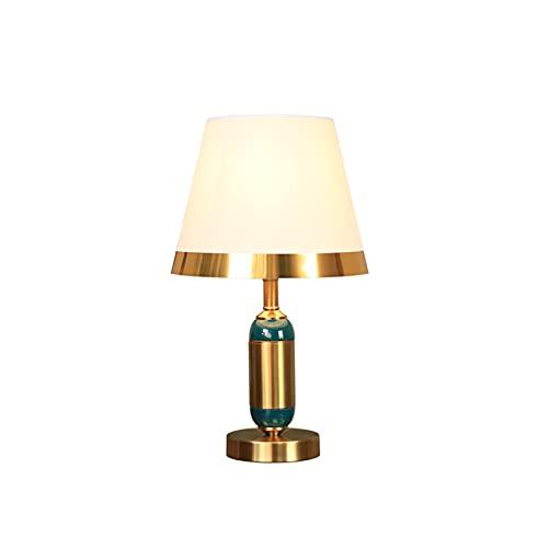 Lámparas De Mesa De Gama Alta Creativa, Habitación Económica Del Hotel Lámparas De Iluminación Decorativa Cerámica Verde Con Lámparas De Escritorio De Cobre E27 Botón Con(Size:25*25*43cm,Color:blanco)