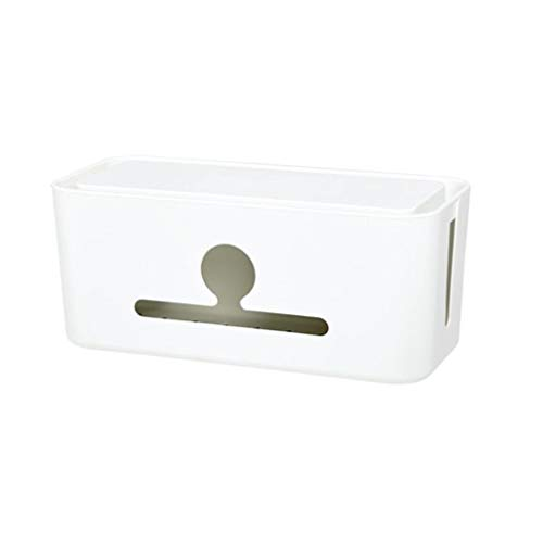 Hemobllo - Caja de almacenamiento para cables de alimentación, organizador para cajas de gestión de cables para televisores, ordenadores de oficina, centros de entretenimiento (blanco)