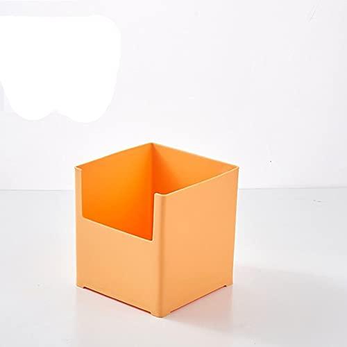 Caja de almacenamiento de escritorio, acabado de gabinete, caja de almacenamiento de armario de plástico, caja de acabado de partición de cajón multifuncional de cocina de ancho, pequeña naranja