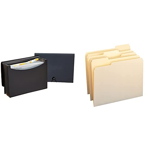 Amazon Basics Expanding Organizer File Folder, Letter Size - Black/Gray, 2-Pack & 1/3-Cut Tab, Assorted Positions File Folders, Letter Size, Manila - Pack of 100