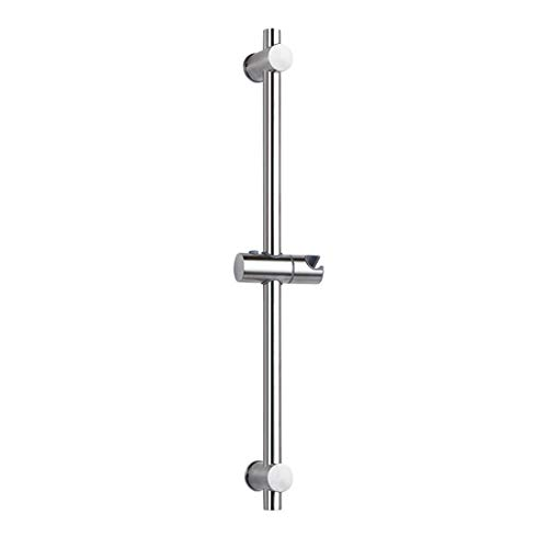 Asta per doccia in acciaio inox 304, con clip di fissaggio regolabili in altezza e angolazione, superficie cromata lucida, altezza totale 660 mm.