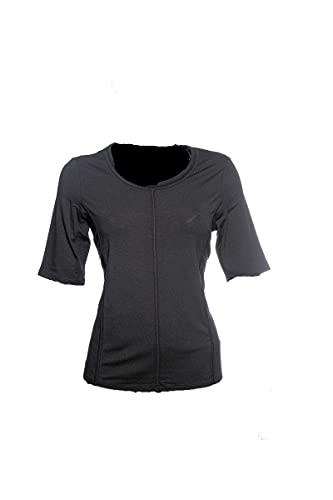 BARBARA LEBEK Camiseta de manga corta en codo, cuello redondo, color negro...