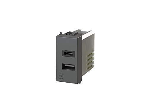 USB3.0 - Alimentatore USB da 3 Ampere a 2 uscite su modulo singolo con connettore di tipo A e tipo C compatibile con Vimar Arkè grigia