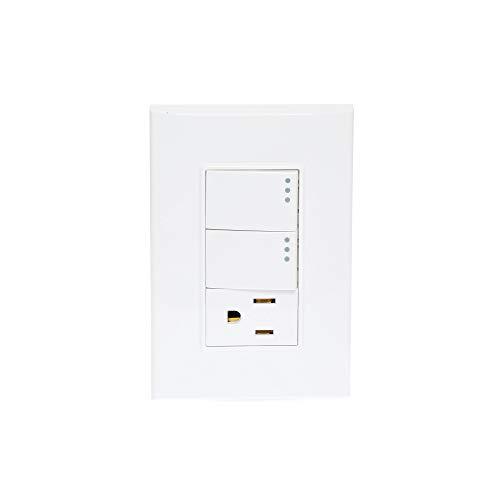 iGOTO PB412 Placa con 2 apagadores y 1 contacto aterrizado, Color blanco