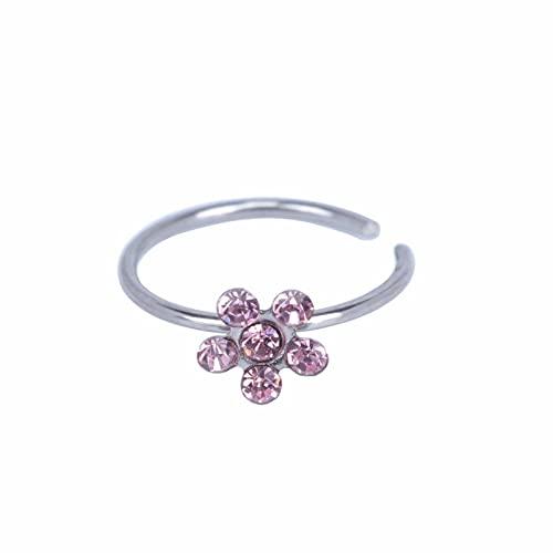 Hongshengchang Small Thin Flower Clear Crystal Nose Ring, Stunning Dangly Crystal Nose Ring Stud Hoop-Sparkly Crystal Nose Ring, New Crystal Nose Ring Hoop, Flower Clear Crystal Nose Ring (Powder)