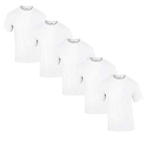 Gildan 5 Stück Heavy Cotton T-Shirt Herren Shirt S - 3XL Schwarz Weiß (L, Weiß)