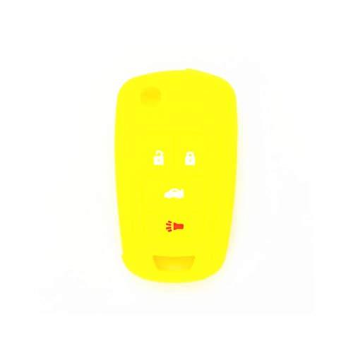 Funda de silicona para llave de coche, funda protectora con tapa para llave de coche a distancia, Fob para fit for Buick Lacrosse Regal Verano GL8 para Fit for Opel Vauxhall ( Color Name : Yellow )