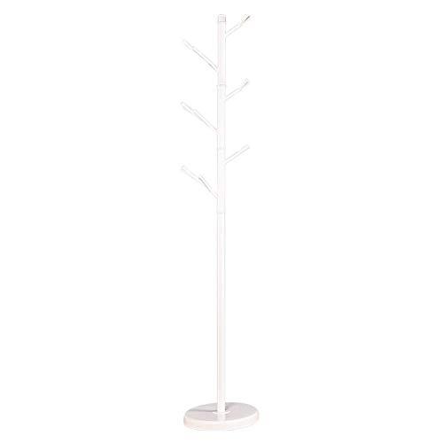 POETRY IJzeren kledingrek Handtasrek hal boom plank met 6 haken Geschikt voor jurk jas hoed en paraplu zwart wit (kleur: wit)
