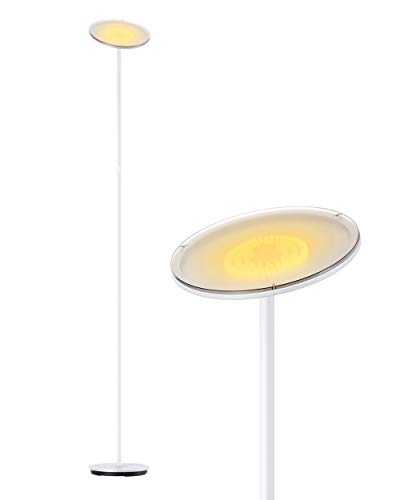 Floor Lamp, Gladle White LED Standing Dimmable Tall Bright Lamps for Living Room Bedroom Office, Super Bright Modern Sky Adjustable Corner Floor Light Uplight with 5 Brightness Levels