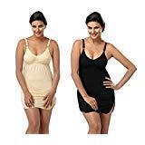 Fashiol Slip Dress Detachable Bra Size 32,34,36 & 38 Colour Black & Skin, White Pack of 2 Organic Cotton Shelf Bra Camisole Tank Top (Black & Skin, 38)