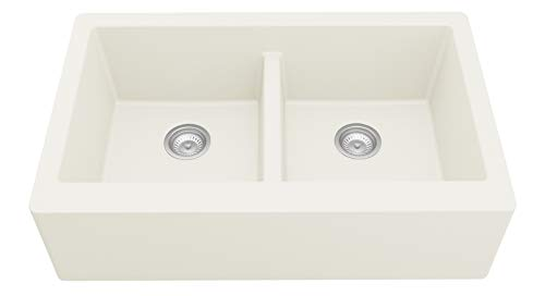 Karran Farmhouse Apron Front Quartz Composite 34 in. Double Bowl Kitchen Sink in White