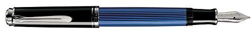 Pelikan Fine-Writing Pelikan 804172 Kolbenfüllhalter Souverän M405, blau/Schwarz/Silber, Feder EF
