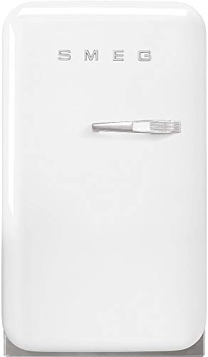 """Smeg FAB5ULWH3 16"""" 50's Retro Style Series Compact Cooler with 1.5 cu. ft. Capacity Absorption Cooling Automatic Defrost LED Interior Lighting and Adjustable Shelves White, Left Hand Hinge"""