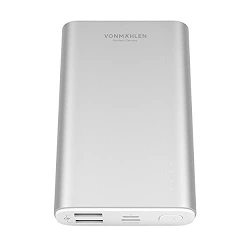 VONMÄHLEN Evergreen Powerbank 10000mAh - Batería Externa & Portátil para Móviles con QC 3.0 y Carga Rápida 18W - Compatible con iPhone y Otros Smartphones - Plata
