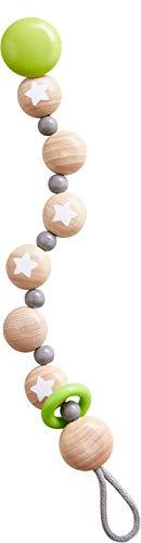 HABA 304632 - Schnullerkette Sternenflug, Schnullerkette aus Holz mit klapperndem Kuntsstoffring; Baby-Spielzeug ab 0 Monaten