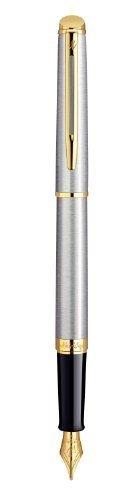 Waterman hemisferio esencial borde dorado de acero inoxidable punta fina pluma estilográfica–s0920310por Waterman