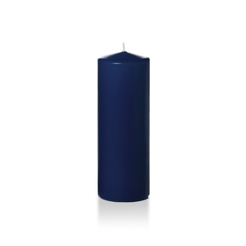 Yummi 3' x 8' Navy Blue Round Pillar Candles - 6 Candles - 80 Hours