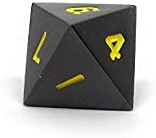 Gun Metal D8 Dice - Single 8 Sided RPG Dice with Yellow Numbering