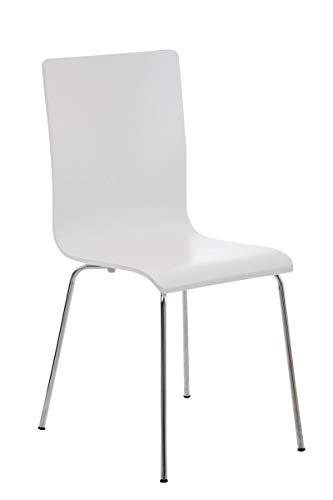 CLP Wartezimmerstuhl Pepe mit ergonomisch geformten Holzsitz und Metallgestell I Konferenzstuhl I erhältlich, Farbe:weiß