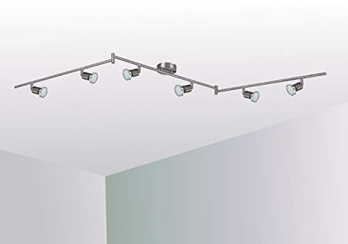 Trango 6-flammig 2935-062 LED Deckenleuchte *FINNO* in Edelstahl-Optik inkl. 6x 3 Watt GU10 LED Leuchtmittel I Deckenlampe I Deckenstrahler I Deckenspots I Wohnzimmer Lampe schwenkbar und drehbar