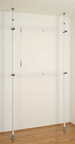 WENKO Teleskop-Garderobensystem Herkules Basic - verstellbares Ordnungssystem, Garderoben-System, Stahl, 75-120 x 165-300 x 11 cm, Weiß