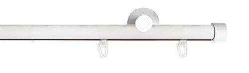 Tilldekor Innenlauf Gardinenstange HIGH-LINE ANDRAX, 1-Lauf, weiß-glanz, Ø 20 mm, 120 cm, inkl. Trägern und Gleitern
