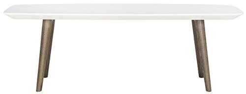 Safavieh Lackierter Couchtisch, Metall, weiß/braun, 119 x 39 x 39.87 cm