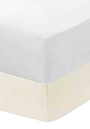 EVERYDAY KIDS 2-Pack Fitted Crib Sheets, 100% Soft Microfiber, Breathable and Hypoallergenic Baby Sheet, Fits Standard Size Crib Mattress 28in x 52in, White Nursery Sheet and Beige Nursery Sheet
