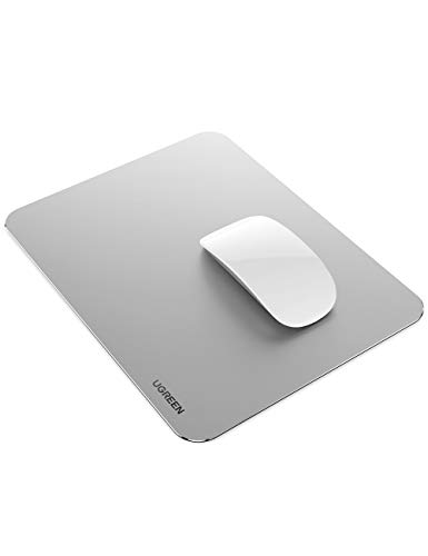 UGREEN Aluminum Mouse Pad Hard Metal Mouse Mat Double Side Ultra Thin Waterproof for Gaming, Home and Office, Sliver