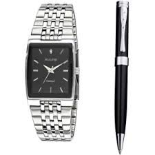 MB922 Accurist - Reloj analógico de pulsera de acero inoxidable con esfera negra para hombre