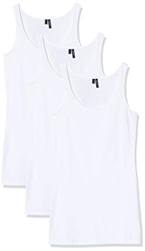 VERO MODA Damen Vmmaxi My Soft Long Tank Ga 3Pack Top, Weiß (Bright White Pack: Bright White & Bright White), 40 (Herstellergröße: L) (3er