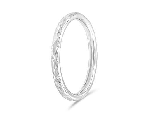 fajno Handgefertigter Silberring Damen und Herren, gehämmert   Silberring für Frauen und Männer   Schmuck Sterling Silber Ring
