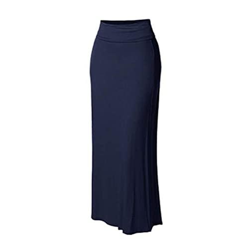 CJWSLYT Vestido para mujer, estilo étnico, falda larga, primavera, otoño, con estampado de faldas, para mujer, casual, con gran columpio, hasta el tobillo (color: azul real, tamaño: S)