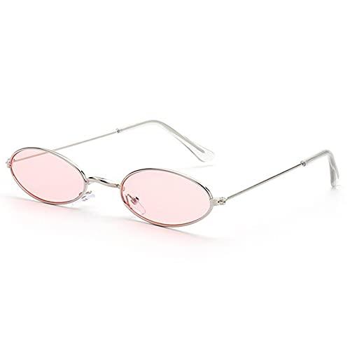 Las Mujeres okulary Gafas de Sol del Marco pequeño de la Manera Gafas de Sol de Las Gafas de Sol del Ojo de Gato UV400 Sombras de Sun Glasses Gafas Calle (Color : Silver Pink)