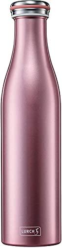 Lurch 240925 Isolierflasche / Thermoflasche für heiße und kalte Getränke aus Doppelwandigem Edelstahl 0,75l, rosegold