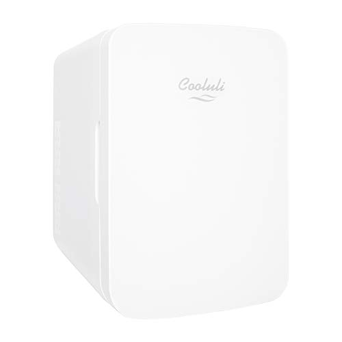 Cooluli 10L Mini Fridge for Bedroom - Car, Office Desk & College Dorm Room - 12v Portable Cooler & Warmer for Food, Drinks, Skincare, Beauty & Makeup - AC/DC Small Refrigerator with Glass Front, White