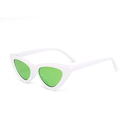YIERJIU Sonnenbrillen Cat Eye Sonnenbrille Frauen Dreieck Kleine Größe Rahmen Brillen Reb Blau Grün Linse Sonnenbrille Uv400,r