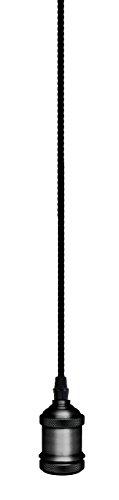 Garza Lighting - Portabombillas Vintage Negro, cable Textil, casquillo E27